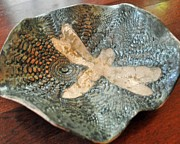 Signed Ceramics - Dragonfly Pottery Bowl by Amanda  Sanford