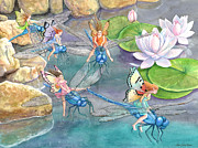Dragonfly Painting Originals - Dragonfly Races by Ann Gates Fiser