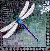 Dragonflies Glass Art Originals - Dragonfly Solo by Marie Groves