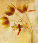 Dragonfly Prints - Dragonfly Tulips Print by Rebecca Cozart
