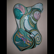 Feminine Sculpture Posters - Dragonfly Water Lily Torso Poster by Lee Bell