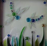 Dragonfly Glass Art - Dragons den by Pat Purdy