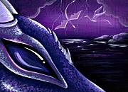 Purple Painting Framed Prints - Dragons Of Amethyst Coast Framed Print by Elaina  Wagner