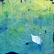 Mirror Paintings - Drake Park Swan by Patt Nicol
