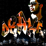 Young Money Digital Art - Drake Watch over the City by GBS by Anibal Diaz