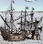 Drake Art - Drakes Golden Hind Captures Cacafuego by Photo Researchers