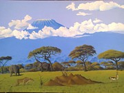 Hilton Mwakima Art - Drama at the foot of Kilimanjaro by Hilton Mwakima