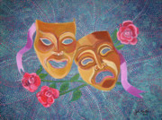 John Keaton Paintings - Drama Masks by John Keaton