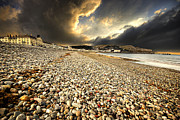 Shingle Framed Prints - Drama Over Llandudno Framed Print by Meirion Matthias