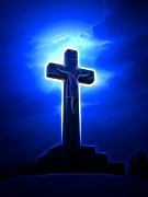 Good Friday Digital Art - Dramatic Jesus Crucifixion by Pamela Johnson