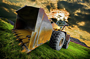 Wheel Metal Prints - Dramatic Loader Metal Print by Meirion Matthias