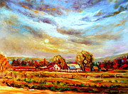 Autumn In The Country Posters - Dramatic Skies Quebec In October Autumn Landscape In The Laurentians  Poster by Carole Spandau