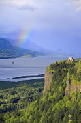 Occurrence Prints - Dramatic sky and rainbow on the Columbia Gorge OR. Print by Gino Rigucci
