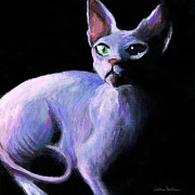 Sphynx Cat Paintings - Dramatic Sphynx Cat print painting by Svetlana Novikova