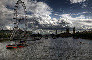 River. Clouds Framed Prints - Dramatic Thames Framed Print by Vicki Jauron