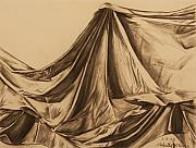 Blanket Drawings Framed Prints - Draped Fabric Framed Print by Michelle Miron