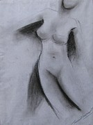 Nude Figure Framed Prints - Drawing 001 Framed Print by Sunil Kumar