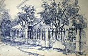 Container Drawings Prints - Drawing of a little street Print by Zanda Milzaraja