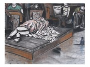 Desk Pastels Prints - Drawing of a Sleeping Model Print by Casey Park