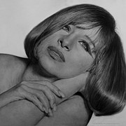 Hollywood Drawings Prints - Drawing of Barbra Streisand SUPER HIGH RES  Print by Mark Montana
