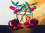 Mongkol Chakritthakool Metal Prints - Drawing Of Cherry And Apple Metal Print by Mongkol Chakritthakool
