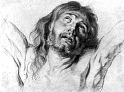 Black And White Religious Art Posters - Drawing of Jesus Poster by Munir Alawi