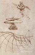 History Of Science Prints - Drawings By Leonardo Divinci Print by Science Source