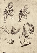 Leonardo Sketch Prints - Drawings Of A Child Print by Sheila Terry