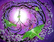 Cherry Blossoms Painting Originals - Drawn to the Light by Laura Iverson