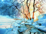 Winter Sunset Paintings - Drawn To The Sun by Hanne Lore Koehler