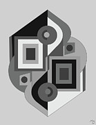 Geometric Shapes Mixed Media Posters - Drawn2ab208bnw Poster by Maggie Schell