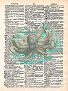 Octopus Mixed Media Framed Prints - Dreadful Octopus 2 Framed Print by Marcus  Jules