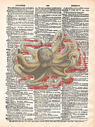 Octopus Mixed Media Framed Prints - Dreadful Octopus 3 Framed Print by Marcus  Jules