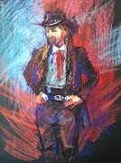 Cowboy Pastels Posters - Dreadlock Cowboy Poster by Pamela Pretty