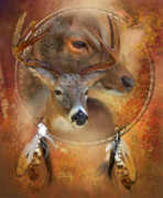 Animal Mixed Media Metal Prints - Dream Catcher - Autumn Deer Metal Print by Carol Cavalaris