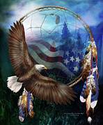American Flag Mixed Media - Dream Catcher - Freedoms Flight by Carol Cavalaris