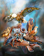 Birds Of Prey Mixed Media Prints - Dream Catcher - Spirit Birds Print by Carol Cavalaris