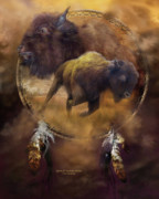 Catcher Mixed Media Posters - Dream Catcher - Spirit Of The Brown Buffalo Poster by Carol Cavalaris
