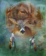 Native American Art Mixed Media Posters - Dream Catcher - Spirit Of The Deer Poster by Carol Cavalaris