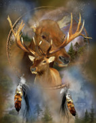 Print Card Mixed Media Framed Prints - Dream Catcher - Spirit Of The Elk Framed Print by Carol Cavalaris