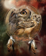 Nature Mixed Media Posters - Dream Catcher - Spirit Of The Owl Poster by Carol Cavalaris