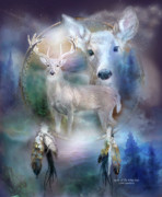 Winter Mixed Media Framed Prints - Dream Catcher - Spirit Of The White Deer Framed Print by Carol Cavalaris