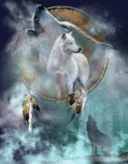 Wildlife Art Mixed Media Posters - Dream Catcher - Spirit Of The White Wolf Poster by Carol Cavalaris