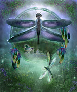Catcher Mixed Media Posters - Dream Catcher - Wind Dancer Poster by Carol Cavalaris