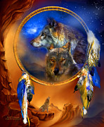 Catcher Mixed Media Posters - Dream Catcher - Wolf Dreams Poster by Carol Cavalaris