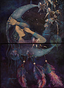 Live Art Painting Prints - Dream Catcher Print by Dorina  Costras