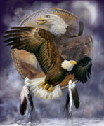 Wildlife Art Mixed Media Posters - Dream Catcher - Spirit Eagle Poster by Carol Cavalaris