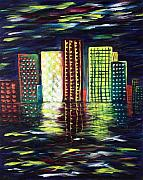 Skyscrapers. Painting Posters - Dream City Poster by Anastasiya Malakhova