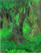 Moss Green Drawings Prints - Dream Forest Print by Rebecca Tripp