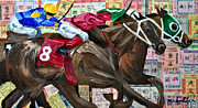 Churchill Downs Mixed Media Prints - Dream Green By A Nose Print by Michael Lee